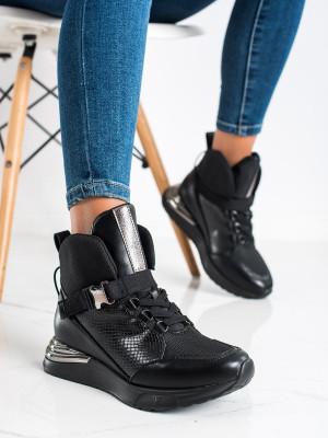 Designové dámské  kotníčkové boty černé bez podpatku