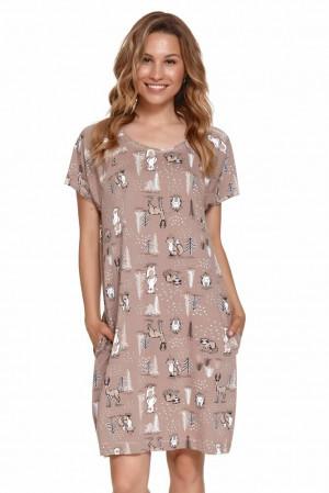 Kojicí noční košilka Mary hnědá s lesními zvířaty hnědá