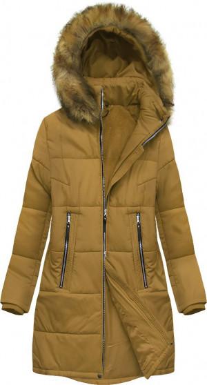 Hořčicová dámská zimní bunda (B2627) żółty