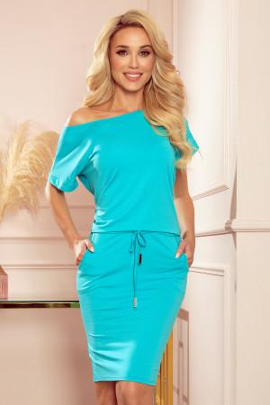 Dámské šaty  56-7 Sukienka sportowa z KRÓTKIM rękawkiem - BŁĘKIT  - NUMOCO modrá