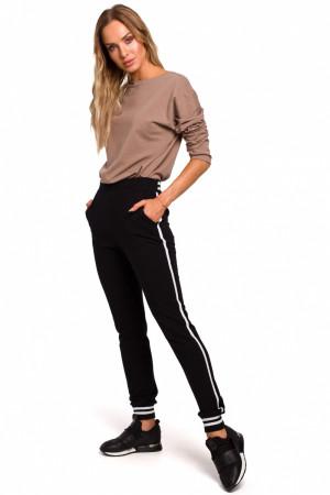 Dámské teplákové kalhoty M5460 - Moe černá s bílou L-40