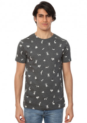Pánské tričko John Frank JFTD62 L Šedá