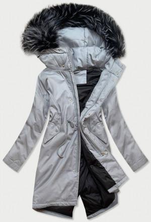 Šedá bavlněná dámská zimní bunda s přírodní péřovou výplní (7085) šedá M (38)
