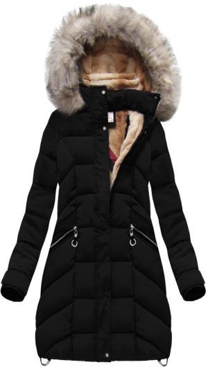 Černá prošívaná dámská zimní bunda s kapucí (W737) černá XXL (44)
