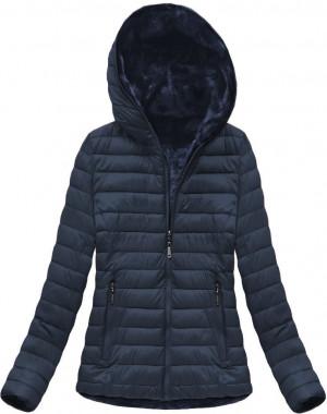 Tmavě modrá oboustranná dámská zimní bunda s kapucí (XB7105X) tmavě modrá XXL (44)