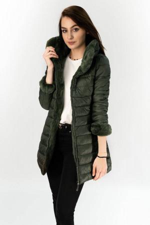 Oboustranná dámská zimní bunda v khaki barvě (B7107) khaki S (36)
