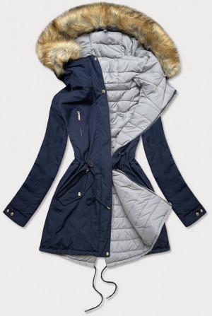 Tmavě modro-šedá oboustranná dámská zimní bunda s kapucí (W210) tmavě modrá S (36)