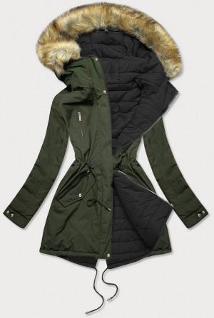 Khaki-černá oboustranná dámská zimní bunda s kapucí (W210) khaki M (38)