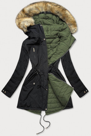 Černo-khaki oboustranná dámská zimní bunda s kapucí (W210) khaki S (36)