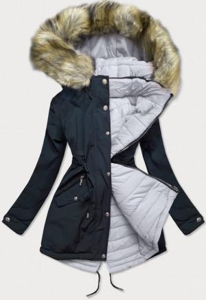 Tmavě modro-šedá oboustranná dámská zimní bunda s kapucí (W211) tmavě modrá S (36)