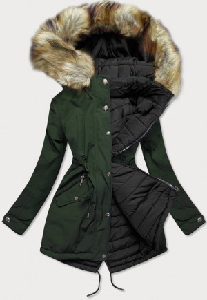 Khaki-černá oboustranná dámská zimní bunda s kapucí (W211) khaki S (36)