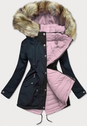 Tmavě modro-růžová oboustranná dámská zimní bunda s kapucí (W211) Růžová S (36)