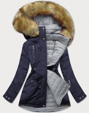 Tmavě modro-šedá oboustranná dámská zimní bunda s kapucí (W213) tmavě modrá S (36)
