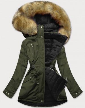 Khaki-černá oboustranná dámská zimní bunda s kapucí (W213) khaki S (36)