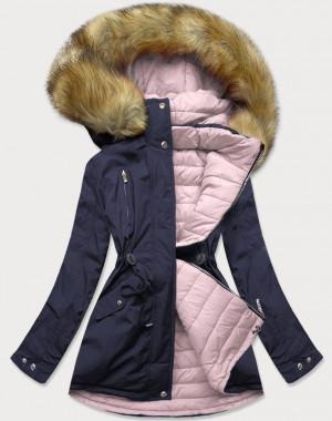 Tmavě modro-růžová dámská zimní bunda s kapucí (W213) Růžová S (36)