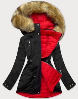 Černo-červená oboustranná dámská zimní bunda s kapucí (W213) Červená S (36)