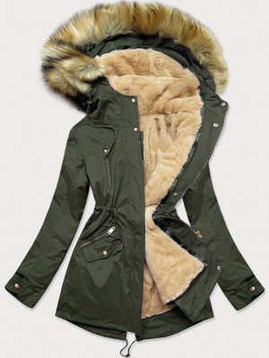 Teplá dámská zimní bunda parka v khaki barvě s podšívkou (W168) khaki XL (42)