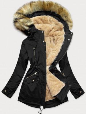 Teplá černá dámská zimní bunda parka s podšívkou (W168) černá XL (42)