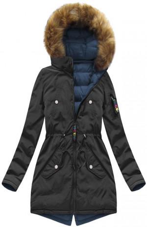 Černo-tmavě modrá oboustranná dámská zimní bunda s kapucí (7313) černá XXL (44)