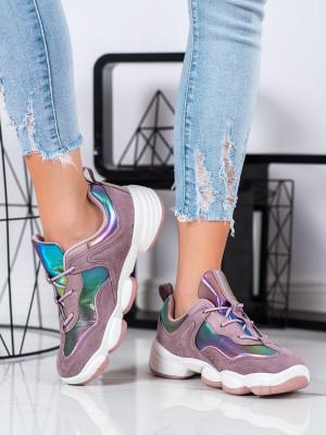Designové dámské fialové  tenisky bez podpatku