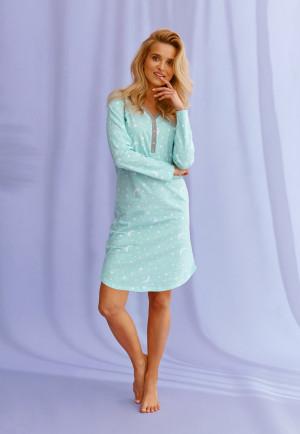 Dámská noční košile Livia 2574 Livia - Taro světle modrá s bílou