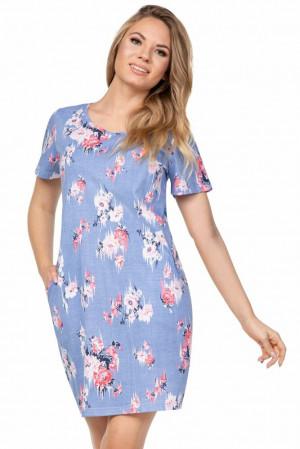 Dámská noční košile Sasha modrá s květy Modrá