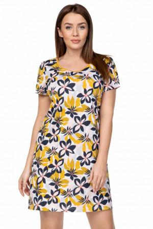 Dámská noční košile Louise žluté květy Žlutá