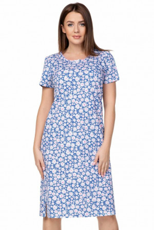 Dlouhá dámská košilka  Debora květy Modrá
