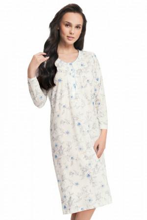 Dlouhá dámská noční košile Alisha modré květy Bílá