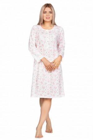 Dámská noční košile Olga ecru s květinami Bílá