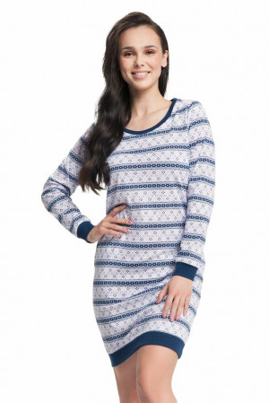 Dámská noční košile Remi s pruhy Modrá