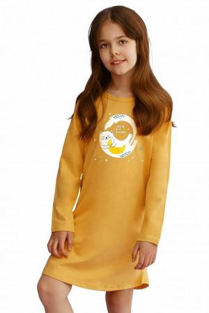Dívčí košilka Sarah žlutá s kočičkou Žlutá 104