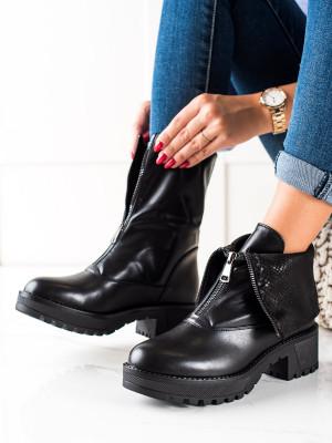 Luxusní černé  kotníčkové boty dámské na plochém podpatku