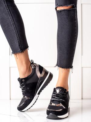Designové černé  tenisky dámské na klínku