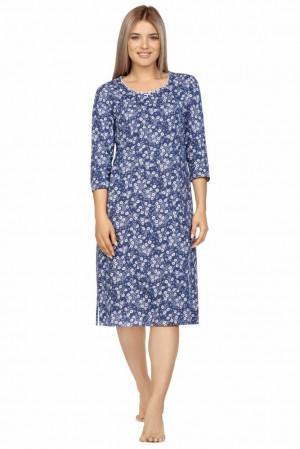 Dlouhá dámská košilka Dita modrá s květy Modrá