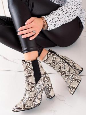 Originální se zvířecím motivem dámské  kotníčkové boty na širokém podpatku
