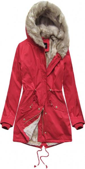 Červená dámská zimní bunda parka s kožešinou (B508) Červená XL (42)
