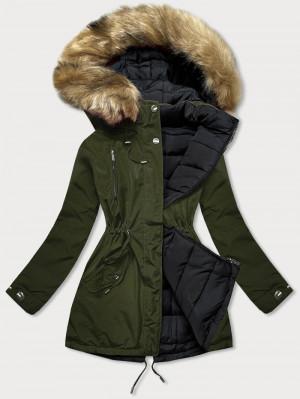 Khaki-černá oboustranná dámská zimní bunda (W557-1BIG) khaki