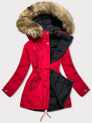 Červeno-černá oboustranná dámská zimní bunda (W557-1BIG) Červená