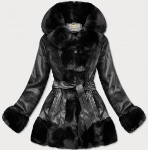 Černá bunda ramoneska s umělou kožešinou (5545) černá S (36)