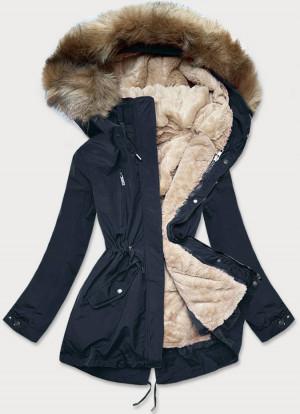 Tmavě modro-světle béžová dámská zimní bunda mechovitým kožíškem (W553) Béžová S (36)