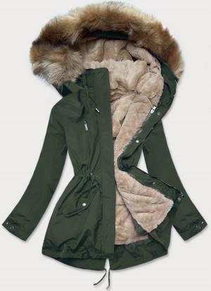 Dámská zimní bunda v army-tmavě béžové barvě s mechovitým kožíškem (W553) zelená S (36)