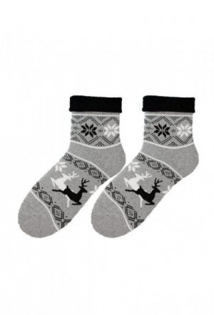 Bratex D-004 Woman Frotta vzor Dámské ponožky 36-38 černá