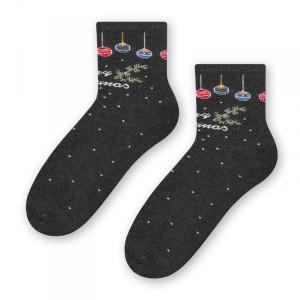 Steven 099 vánoční koule grafitové Dámské ponožky 38/40 šedá