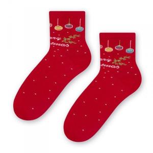 Steven 099 vánoční koule červené Dámské ponožky 35/37 červená