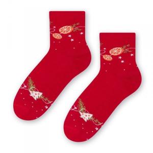 Steven 099 Pomeranče červené Dámské ponožky 38/40 červená