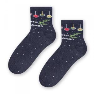 Steven 099 vánoční koule tmavě modré Dámské ponožky 38/40 tmavě modrá
