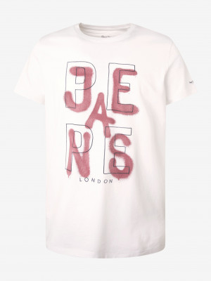 Bílé pánské tričko s potiskem Pepe Jeans Reidar
