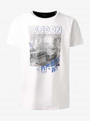 Bílé pánské tričko s potiskem Pepe Jeans Toby