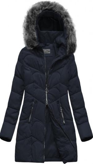 Tmavě modrá delší prošívaná dámská zimní bunda s kapucí (XR2643X) tmavě modrá XXL (44)